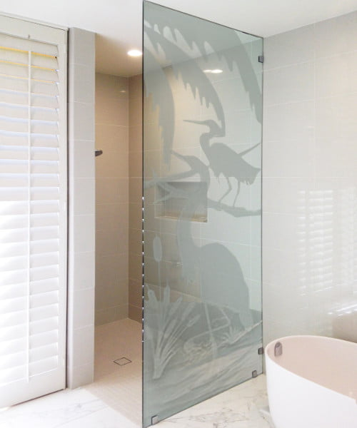 Custom Sandblasted Shower Partition