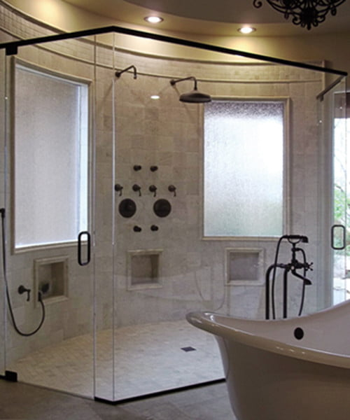 Frameless Swing Angled Shower Unit