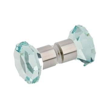 Square Glass Knob Brushed Nickel