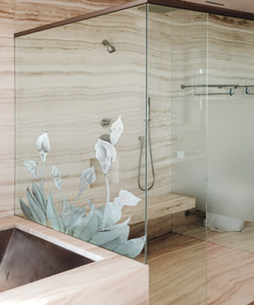 PRL Shower Glass Options -Sandblasted Lilies