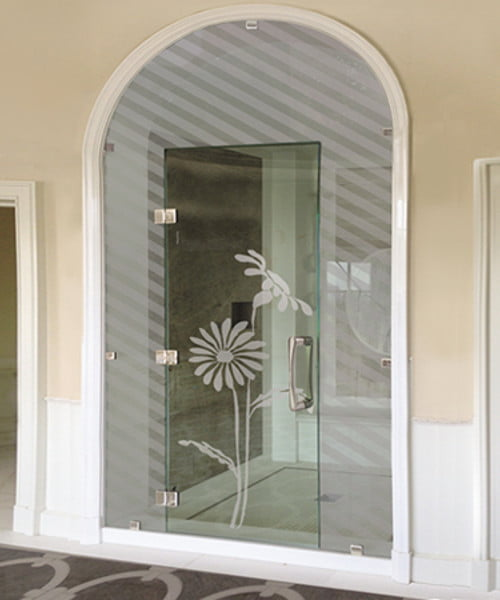 Sandblasted Shower Glass Daisy