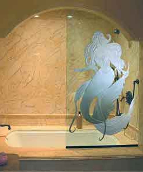 Sandblasted Shower Glass Mermaid