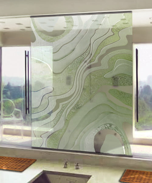 Sandblasted Shower Glass Waves