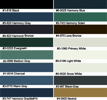 Standard Spandrel Glass Colors